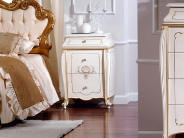 Lacquered bedside table with drawers OLIMPIA B | Lacquered bedside table