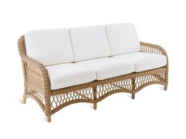 Sofá de jardín de fibra sintética OLIMPIA | Sofá de jardín 3 plazas