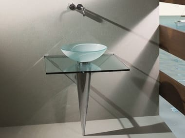 Round pedestal glass washbasin OLIMPIA