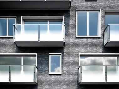 Parapetto in alluminio con pannelli in vetro OLIMPIA VETRO
