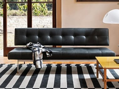 Leather bench with back OLIVER | Leather bench