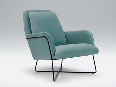 Velvet armchair with armrests OLIVER | Velvet armchair