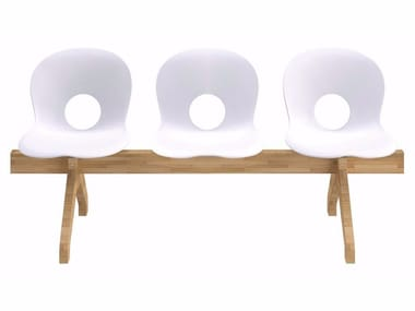Freestanding polypropylene beam seating OLIVIA WOOD BEAM