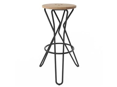 Steel and wood barstool OLLY | High stool