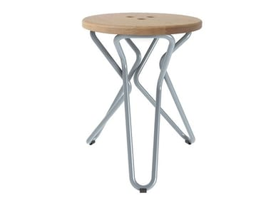 Steel and wood stool OLLY | Stool