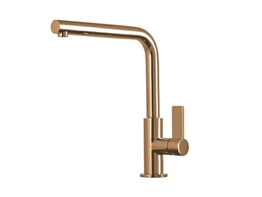 Countertop single handle kitchen mixer tap with swivel spout OMEGA PVD COPPER