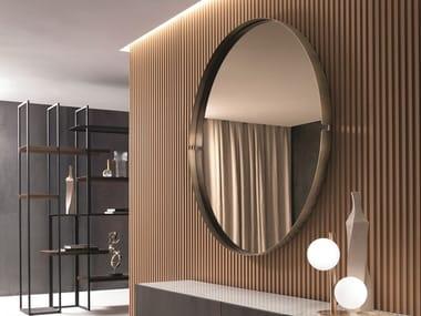 Specchio rotondo in metallo con cornice da parete OMEGA