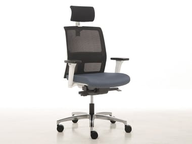 Executive chair with 5-spoke base with headrest OMNIA WHITE | Executive chair with headrest