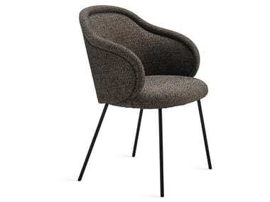 Upholstered fabric chair with armrests ONA CURVED | Chair