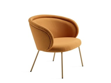 Upholstered fabric easy chair with armrests ONA COCKTAIL CHAIR