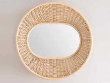 Round wall-mounted rattan mirror ONDE