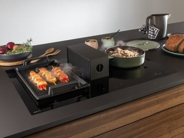 Induction flush-mount hob with integrated hood NOVY ONE