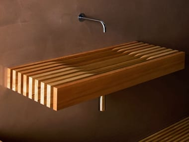 Rectangular wall-mounted larch washbasin ONE