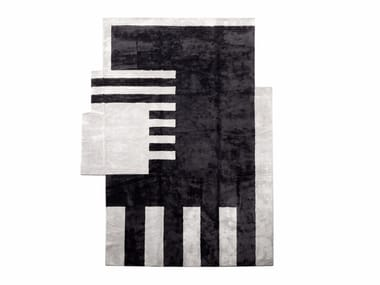 Rectangular silk rug OP-ART