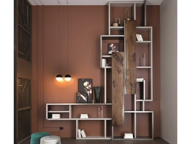 Open sectional lacquered walnut bookcase OPEN | Bookcase
