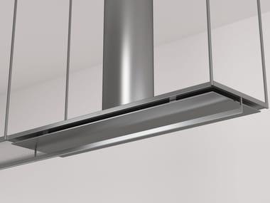Cappa ad isola in acciaio inox e vetro con illuminazione integrata OPEN | Cappa
