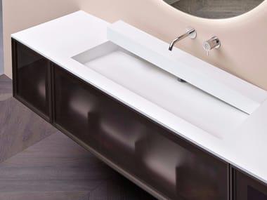 Lavabo in Corian® con scarico ispezionabile OPEN SLOT