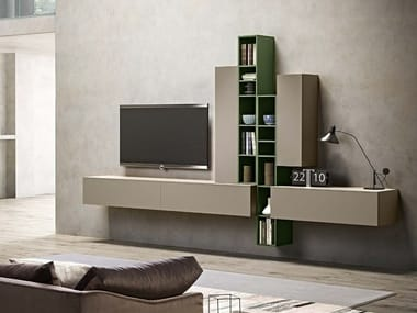 Wall-mounted lacquered storage wall OPEN | Storage wall