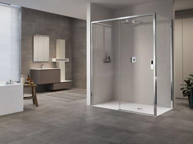 Box doccia angolare con porta scorrevole OPERA | 2P + F