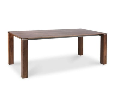 Extending rectangular solid wood dining table OPERA
