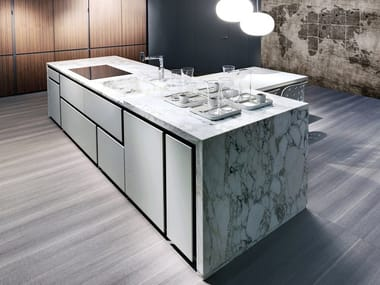 Marble kitchen with island with integrated handles OPERA | Marble kitchen
