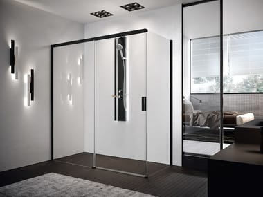 Corner shower cabin with sliding door OPERA PH+FH