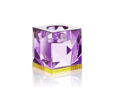 Crystal candle holder OPHELIA PURPLE/YELLOW