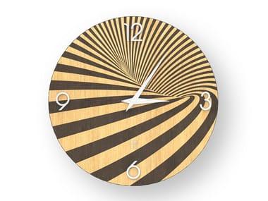 Wall clock made of inlayed wood OPTICAL WARM | Clock