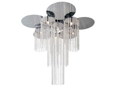 Lampada da soffitto in metallo con cristalli OPUS C5+1