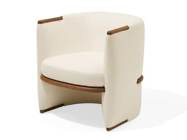 Upholstered fabric armchair with armrests OPUS