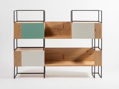 Freestanding modular oak bookcase with drawers OPUS