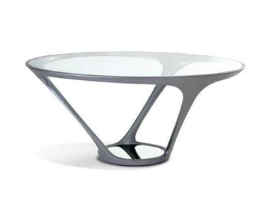 Tavolo da pranzo rotondo in acciaio e vetro ORA ITO   Tavolo rotondo