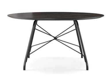 Round stainless steel and wood dining table ORCHARD | Dining table