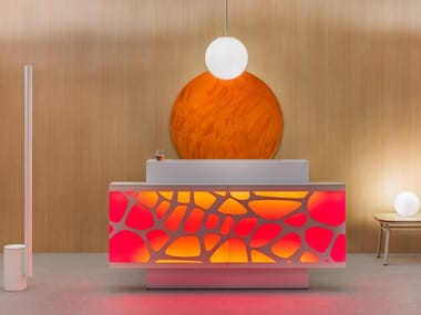 Office reception desk with Built-In Lights ORGANIC