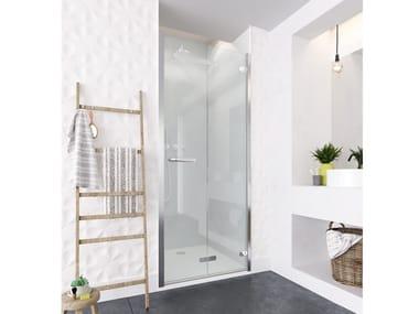 Niche square glass shower cabin with folding door ORO BIFOLD DOOR