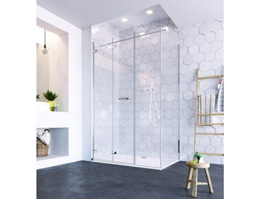 Cabina de ducha de esquina de vidrio con puertas plegables ORO ULTRAFRAMELESS - BIFOLD DOOR