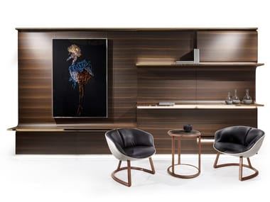 Sectional wood veneer storage wall with integrated lighting OSBORNE