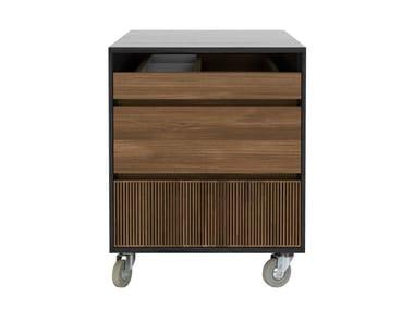Teak office drawer unit with castors OSCAR | Office drawer unit