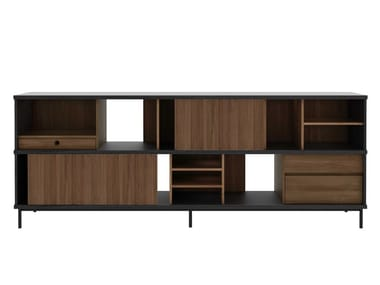 Teak sideboard with sliding doors OSCAR | Sideboard