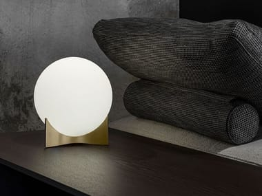 LED glass and brass table lamp OSCAR