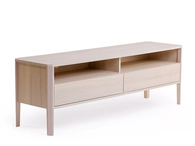 Wood veneer TV cabinet with drawers OSLO | TV cabinet