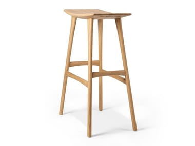 High teak stool with footrest OSSO
