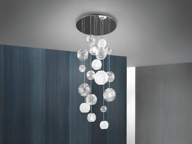 Blown glass pendant lamp OTO SP R