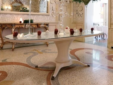 Oval lacquered table in wood and crystal OVAL
