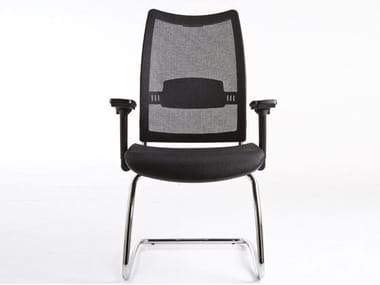 Cantilever mesh reception chair with armrests OVERTIME | Cantilever chair