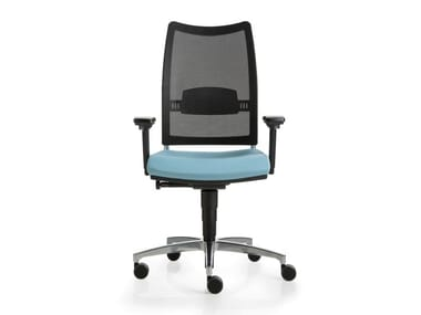 Swivel mesh office chair with 5-Spoke base with castors OVERTIME | Swivel office chair