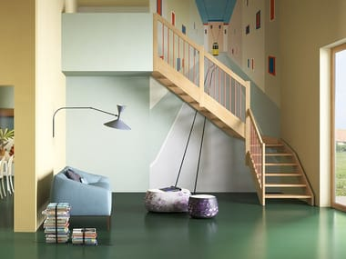 L-shaped U-shaped self supporting wooden cantilevered staircase OXA LIGHT