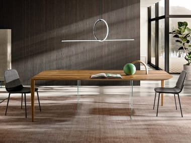 Wood and glass dining table P&J