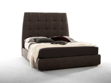 Leather double bed with high headboard PACIFICO