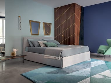 Double bed with removable cover with upholstered headboard PACO | Double bed